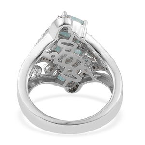 Grandidierite, Cambodian Zircon Ring in Platinum Over Sterling Silver (Size 9.0) 2.33 ctw