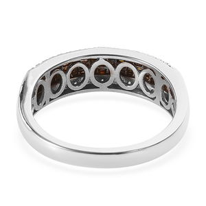 Red Diamond (IR), Diamond (0.15 ct) Ring in Black Rhodium & Platinum Over Sterling Silver (Size 5.0) 0.50 ctw