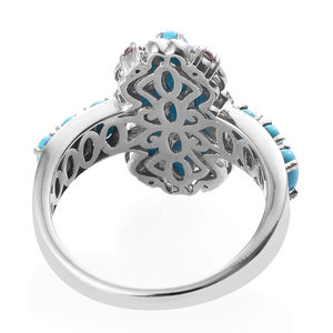 Arizona Sleeping Beauty Turquoise, Coffee Zircon Ring in Platinum Over Sterling Silver (Size 6.0) 3.68 ctw