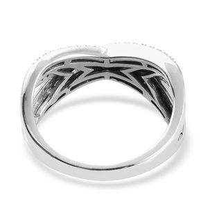 Diamond Criss Cross Ring in Platinum Over Sterling Silver (Size 8.0) 0.50 ctw