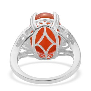 Enhanced Red Onyx Ring in Sterling Silver (Size 10.0) 6.00 ctw