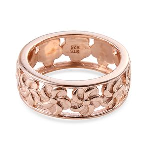 14K RG Over Sterling Silver Floral Eternity Ring (Size 5.0) (Avg. 3.73 g)