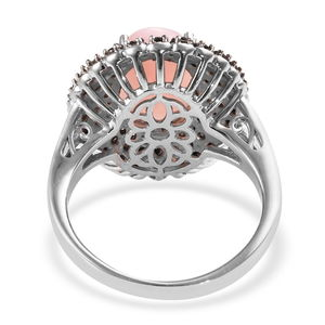 Peruvian Pink Opal, Thai Black Spinel Ring in Black Rhodium & Platinum Over Sterling Silver (Size 11.0) 5.60 ctw