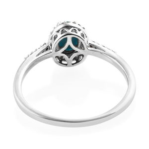 Arizona Sleeping Beauty Turquoise, Zircon Ring in Platinum Over Sterling Silver (Size 8.0) 0.95 ctw
