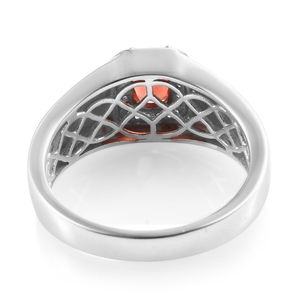 Red Andesine, Zircon Men's Ring in Platinum Over Sterling Silver (Size 14.0) 1.44 ctw