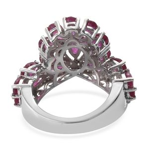 Niassa Ruby, Zircon Ring in Platinum Over Sterling Silver (Size 9.0) 5.48 ctw