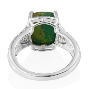 Mojave Green Turquoise, White CZ Ring in Sterling Silver (Size 10.0) 3.43 ctw