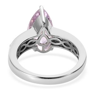 Premium Martha Rocha Kunzite, Diamond (0.20 ct) Ring in Platinum Over Sterling Silver (Size 11.0) 4.40 ctw