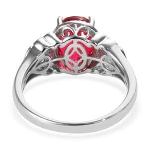 KARIS Rubelite Quartz Ring in Platinum Bond Brass (Size 6.0) 4.15 ctw