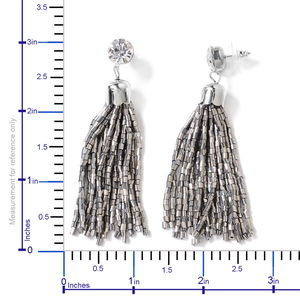 Silver Tube Seed Bead Tassel Earrings and Braided Statement Bib Necklace (20 in)
