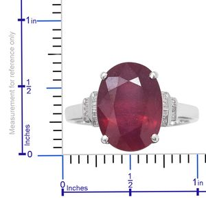 Niassa Ruby, Diamond (0.20 ct) Ring in Platinum Over Sterling Silver (Size 7.0) 13.70 ctw