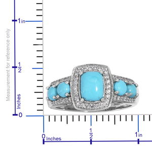 Arizona Sleeping Beauty Turquoise, Cambodian Zircon Ring in Platinum Over Sterling Silver (Size 6.0) 2.45 ctw