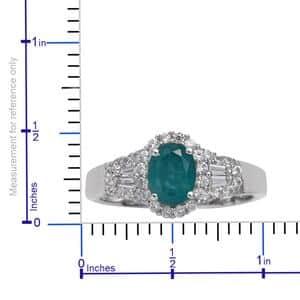 Grandidierite, Cambodian Zircon Ring in Platinum Over Sterling Silver (Size 7.0) 2.06 ctw