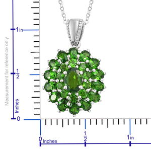 Russian Diopside Pendant Necklace (20 in) in Platinum Over Sterling Silver 4.25 ctw