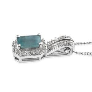 Grandidierite, Cambodian Zircon Ring (Size 10) and Pendant Necklace (20 in) in Platinum Over Sterling Silver 1.93 ctw
