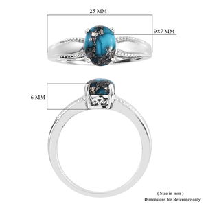 Persian Turquoise Solitaire Ring in Platinum Over Sterling Silver (Size 6.0) 2.00 ctw