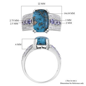 Persian Turquoise, Multi Gemstone Ring in Platinum Over Sterling Silver (Size 5.0) 7.88 ctw