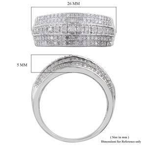 Diamond Ring in Platinum Over Sterling Silver (Size 9.0) 0.75 ctw