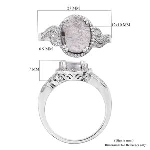 Meteorite, Cambodian Zircon Ring in Platinum Over Sterling Silver (Size 11.0) 11.30 ctw