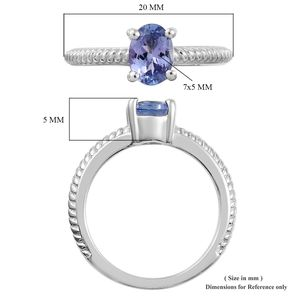 Tanzanite Ring in Platinum Over Sterling Silver (Size 8.0) 0.75 ctw
