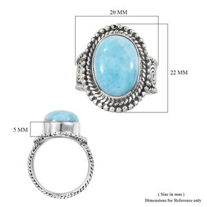 Artisan Crafted Larimar Ring in Sterling Silver (Size 5.0) 6.54 ctw