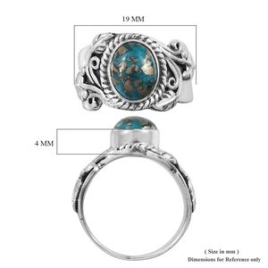 Artisan Crafted Persian Turquoise Ring in Sterling Silver (Size 6.0) 2.13 ctw