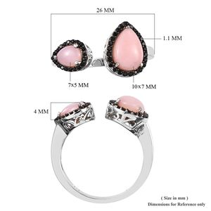 Peruvian Pink Opal, Thai Black Spinel Ring in Platinum Over Sterling Silver (Size 10.0) 2.46 ctw
