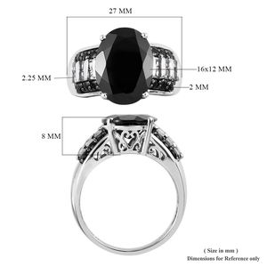 Thai Black Spinel, White Topaz Ring in Platinum Over Sterling Silver (Size 11.0) 11.44 ctw
