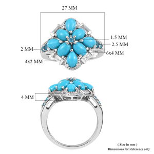 Arizona Sleeping Beauty Turquoise, Multi Gemstone Ring in Platinum Over Sterling Silver (Size 9.0) 4.27 ctw