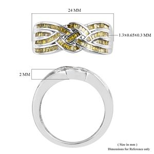 Yellow Diamond (IR) Ring in Platinum Over Sterling Silver (Size 6.0) 0.50 ctw
