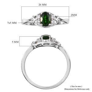 Russian Diopside, Zircon Ring in Platinum Over Sterling Silver (Size 8.0) 1.02 ctw