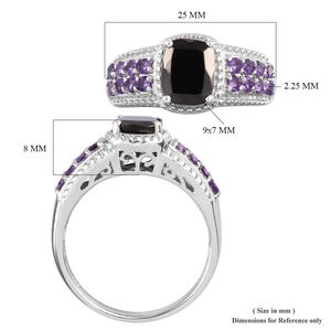 Shungite, Amethyst Ring in Platinum Over Sterling Silver (Size 11.0) 1.90 ctw