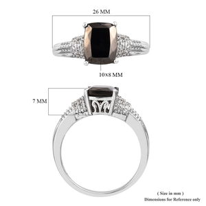 Shungite, Zircon Ring in Platinum Over Sterling Silver (Size 9.0) 2.23 ctw