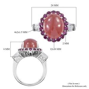 Peruvian Honey Rhodochrosite, Multi Gemstone Ring in Platinum Over Sterling Silver (Size 5.0) 7.25 ctw