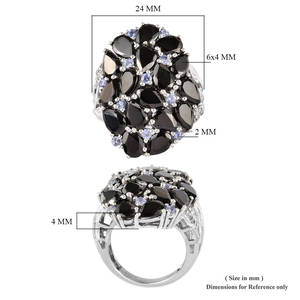 Shungite, Multi Gemstone Ring in Platinum Over Sterling Silver (Size 9.0) 4.40 ctw