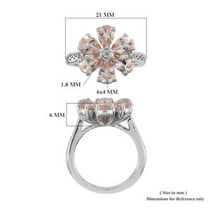 Marropino Morganite, Zircon Floral Ring in Platinum Over Sterling Silver (Size 10.0) 2.15 ctw
