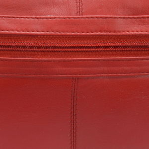 NEWAGE Red Leather Shoulder Bag with Man-made Strap (12x9.5x2.5)