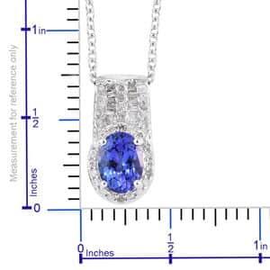 AAA Premium Tanzanite, Diamond (0.25 ct) Pendant Necklace (20 in) in Platinum Over Sterling Silver 1.50 ctw