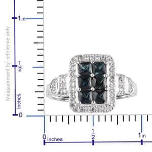 Monte Belo Indicolite, Zircon Ring in Platinum Over Sterling Silver (Size 6.0) 1.75 ctw
