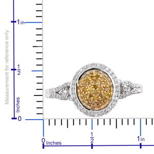 Yellow Diamond (IR), Diamond Ring in Rhodium & Platinum Over Sterling Silver (Size 7.0) 0.50 ctw