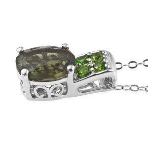 Bohemian Moldavite, Russian Diopside Ring (Size 6) and Pendant Necklace (20 in) in Platinum Over Sterling Silver 3.67 ctw