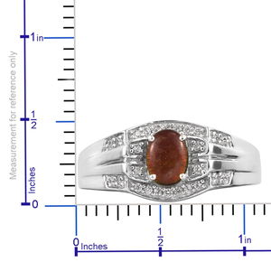 Canadian Ammolite, Zircon Men's Ring in Platinum Over Sterling Silver (Size 12.0) 0.30 ctw