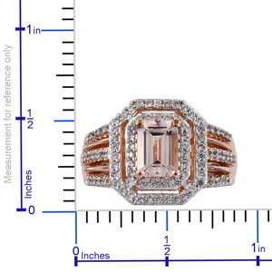 AA Premium Marropino Morganite, Zircon Ring in Vermeil RG Over Sterling Silver (Size 11.0) 1.56 ctw