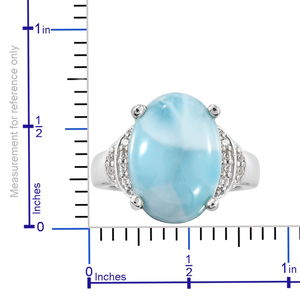 Larimar, Zircon Ring in Platinum Over Sterling Silver (Size 10.0) 6.65 ctw